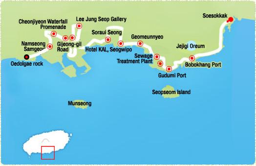Soesokkak -> Jejigi Oreum (2.34km)-> Gudumi Port (3.95km)-> Seogwipo KAL Hotel (6.82km)-> Sojeongbang Waterfalls (8.17km)-> Lee Jung Seop Gallery -> Cheonjiyeon Falls Promenade (11km)-> Oedolgae rock