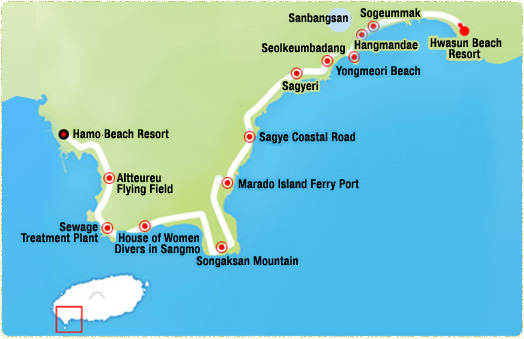 Wolpyeong Port-> Garlic Fields (2.86km)-> Daepo Port (4km)-> Jusangjeolli cliffs-> Jungmun Beach Resort -> Haebyeongdaegil (Marine Corp Road) (13.8km)->Haye Seaside Road-> Daepyeong Port
