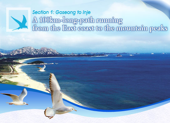 Section 1: Goseong to Inje-A 100km-long-path running from the East coast to the mountain peaks