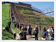 Walking along the barbed wire fence of the DMZ