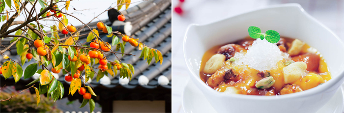 Photo: Persimmon tree (left) / Persimmon dessert (right)