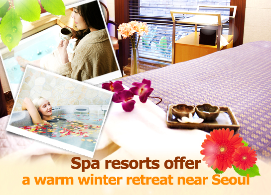 Spa resorts offer a warm winter retreat near Seoul