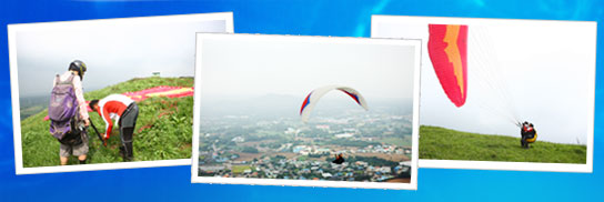 There are a total of 3 picture and ready to try paragliding in order from left to help people with pictures, paragliding ride the flying man, landed on the lawn and help out people photography.