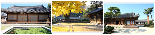 There are a total of three images, Hagindang, Jeonju Hanok in order from left and took the photo with a pond in front of the courtyard, the fall foliage is yellow or green trees and landscape photography, the House combines traditional Hanok photo.