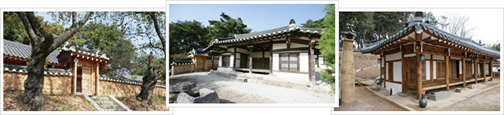 There are a total of three images, in the order in which they were left from the main entrance of the Hanok Village in Gyeongju Hanok pictures, pictures of the entrance, another traditional Hanok side photo.