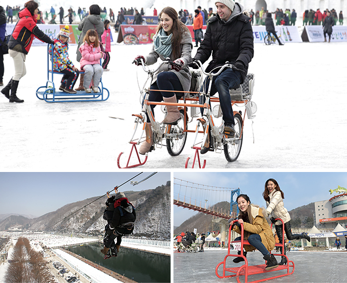 There are a total of 3 images and clockwise a couple riding a bike on the snowy ground, lovers and children's photography, biking rides Rides Ice above the ice, take the lift down the two men