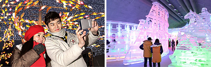 The left picture is the light decorations in the shape of the leaves in the background taking pictures of both sexes, the right photo is watching people ice sculpture photo.