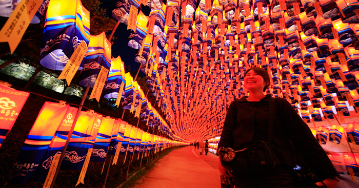 Hope to participate in the Festival, including a number of lanterns down smiled walking woman