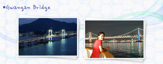 Gwangan Bridge - A night photo, on the left and right the gwangan bridge looked at times the gwangan bridge above a woman taking pictures of pictures