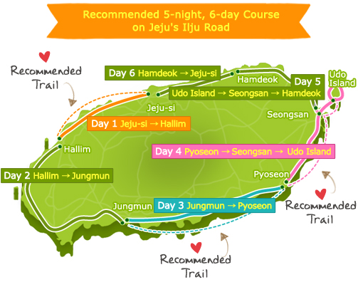 Recommended 5-night, 6-day Course on Jeju's Ilju Road