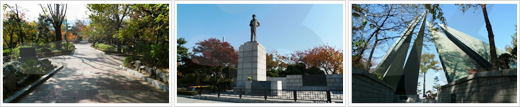 There are a total of three images on the left hand side order of freedom Park promenade pictures, MacArthur statue pictures, symbols of freedom Park taken centering on landscape photography.