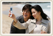 One of the scenes in the movie ' go out ' and son ye-Jin and BAE Yong-joon in this picture taken from a Beach cut at Samcheok.