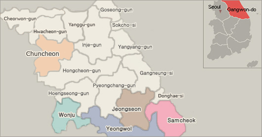 Gangwon Province, held in September-October Festival is a region on a map
