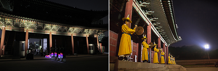 Money blowing the whistle on the doorstep Tuesday, surging and people, donhwamun gate at night photo