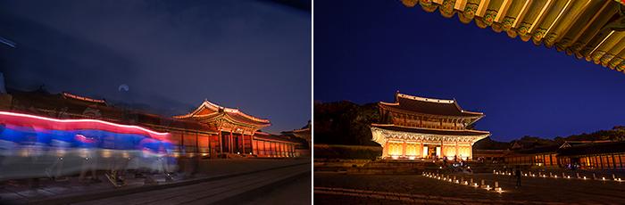 Injeongjeon Hall night photos 1, 2