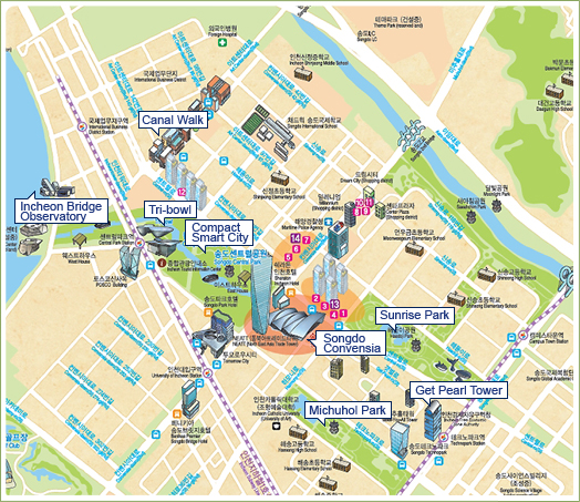 Incheon Bridge Observatory, Canal Walk, Compact Smart City, Songdo Convensia, Sunrise Park, Michuhol Park, Get Pearl Tower