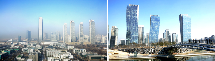 Songdo International City seen from Get Pearl Tower(left) / Central Park(right)