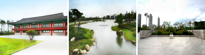 Hanok appearance in Michuhol park (left) /Beautiful lakes, trails Michuhol park (center) / Michuhol park view, panoramic scenery (right)