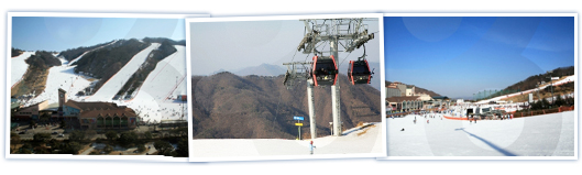 There are a total of three images, daemyung Vivaldi Park in order from left to Ski World ski lift photos from a distance, away from the ski slopes downward, caught photos