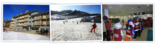 There are a total of three image and left the order from the alpensia ski resort main gate photo, ski-to-ski from skiing people, ride a unicycle, preparing children indoors