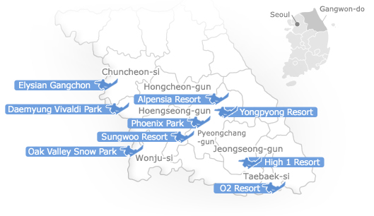 Map showing the ski resorts in Gangwon-do and please click on each image, go to the content
