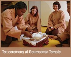 Tea ceremony at Geumsansa Temple.