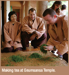 Making tea at Geumsansa Temple.