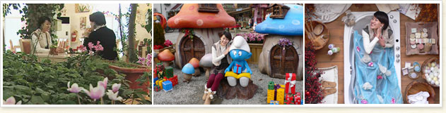 There are a total of three picture left next to the order from the flower beds at the table drinking tea in front of the two sexes, the Smurfs commemorative sculpture taking pictures of a woman, hub lay in the bath soap is posing the model woman