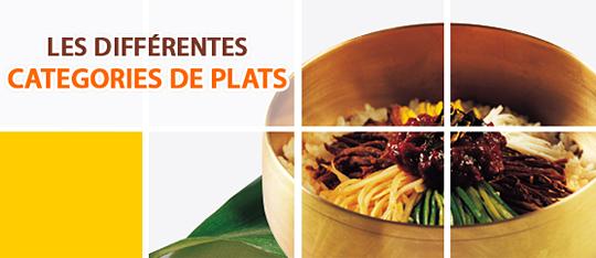 LES DIFFÉRENTES CATEGORIES DE PLATS