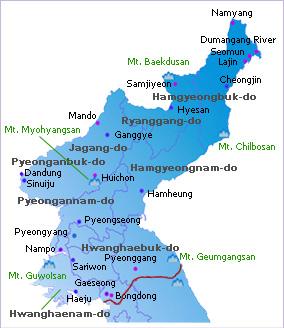 Voyage Corée du Nord : Carte Corée