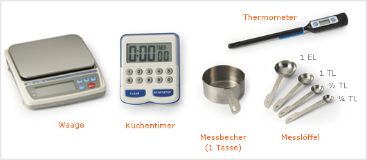 Waage, Küchentimer, Messbecher (1 Tasse), Messlöffel (1 EL, 1 TL, ½ TL, ¼ TL), Thermometer