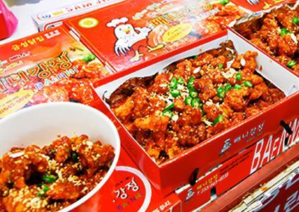 江陵中央市場的辣炸雞塊