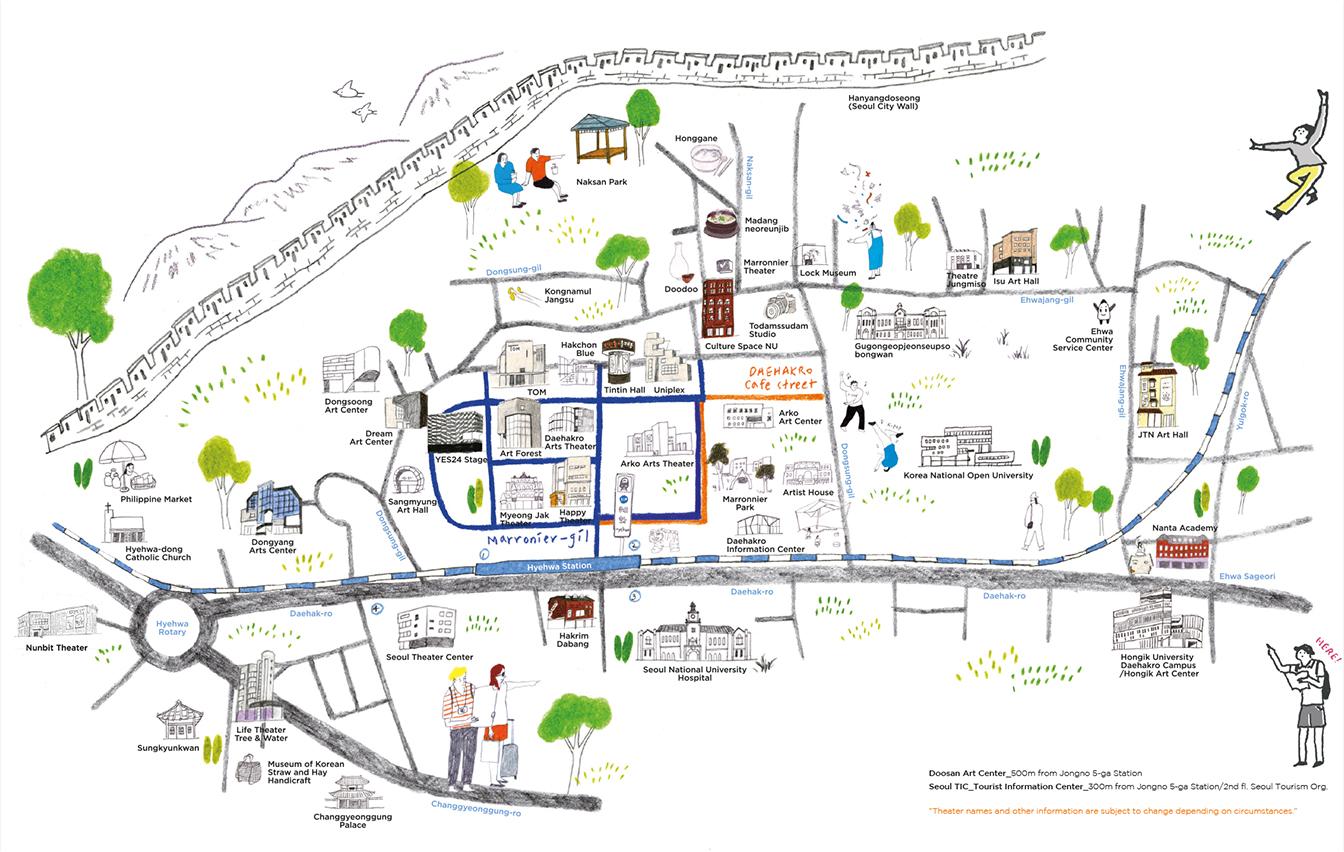 詳細標記以馬羅尼埃公園爲中心的大學路演出場所、文化設施、咖啡店、餐飲店、地鐵及道路等的地圖。