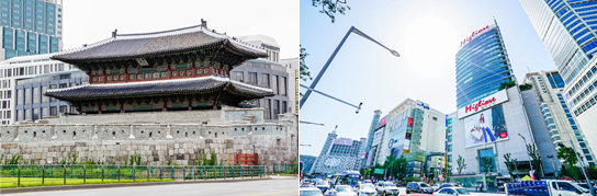 Photo: Heunginjimun Gate (left) / Dongdaemun Fashion Town Special Tourist Zone (right)