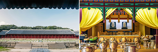 Photo: Jongmyo Shrine's Jeongjeon Hall (the main hall) (left) / Interior of Jongmyo (right)