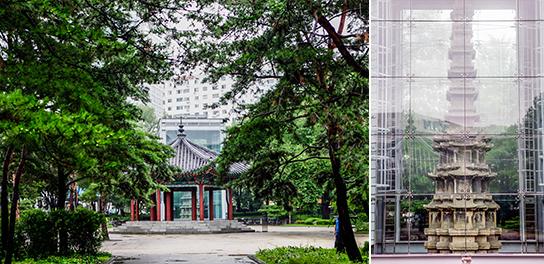 Photo: Tapgol Park (left) / Ten-storey Stone Pagoda at Wongaksa Temple (right)