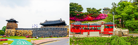 Photo: Suwon Hwaseong Fortress (left) & Hwaseong Train