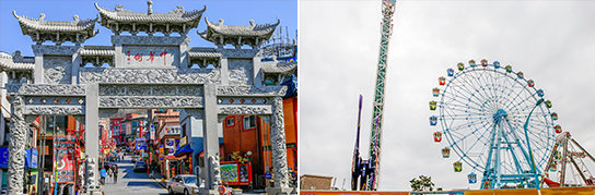 Photo: Incheon China Town (left) / Wolmido Island (right)
