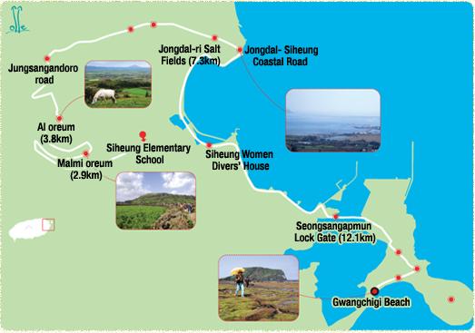Siheung Elementary School-> Malmi oreum (2.9km)-> Al oreum (3.8km)-> Jungsangandoro road-> Jongdal-ri Salt Fields (7.3km)-> Siheung Women Divers' House-> Seongsangapmun Lock Gate (12.1km)-> Gwangchigi Beach