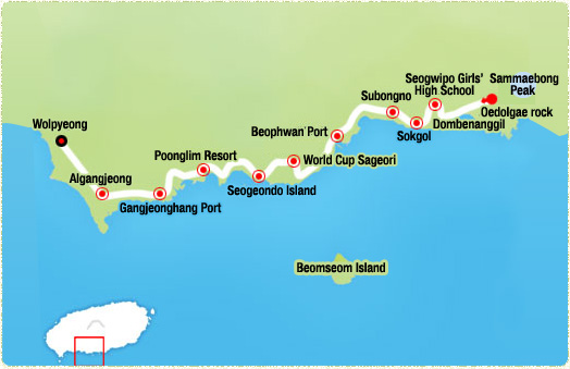 Oedolgae rock-> Subongno (3.81km)-> Beophwan Port (4.79km)-> World Cup Sageori(Intersection)-> Seogeondo Seaside Promenade (7.74km)-> Poonglim Resort -> Gangjeonghang Port (13.2km)-> Wolpyeong Port
