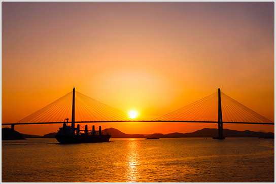 Photo: sunset from Mokpo Bridge