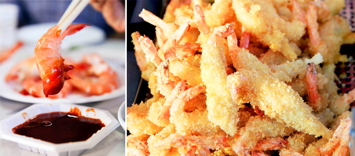 Photo: Grilled jumbo prawns (left) / Deep-fried jumbo prawns (right)