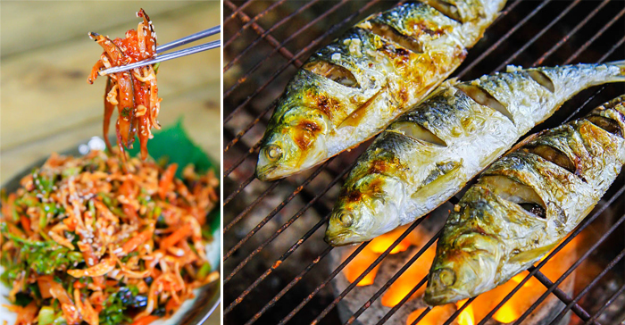 Photo: Gizzard shad sashimi (left) / Grilled gizzard shad (right)