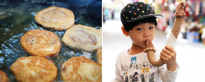 ... stuffed Korean-style pancake) (left) / Corn cane soft ice cream (left