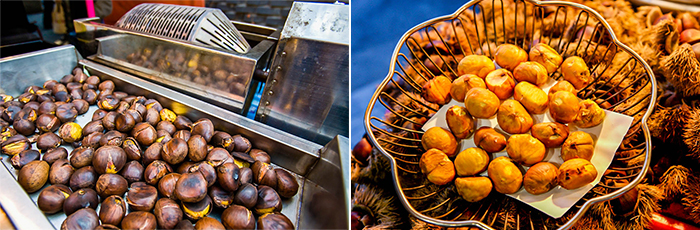Photo: Golden brown chestnuts resting on roasting machine (left) / Peeled off chestnuts are also sold (right)