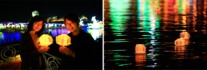 The lamp on the left wish to hear the ship's right to photograph two girls laugh and celebrate, I wish lanterns floating on the river photos