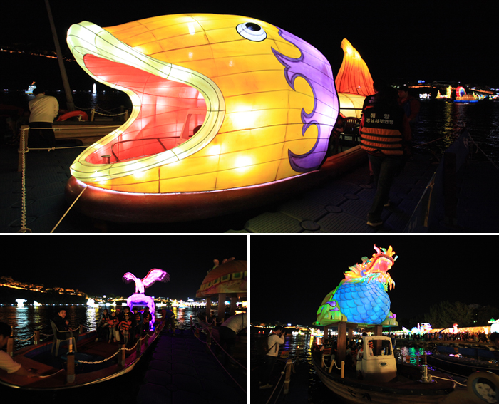 There are a total of 3 picture and in a clockwise direction, as well as a big fish on the ship-shaped raised pictures, a small boat on the roof of the lamp head up for photos, small boats head up the eagle-shaped lanterns on either side of the picture.