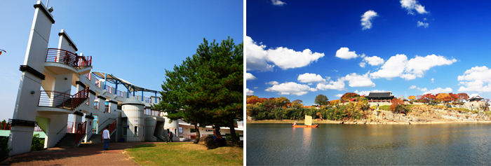 The right photo is centered on the Castle and the Pearl River is a distance taken with photo.