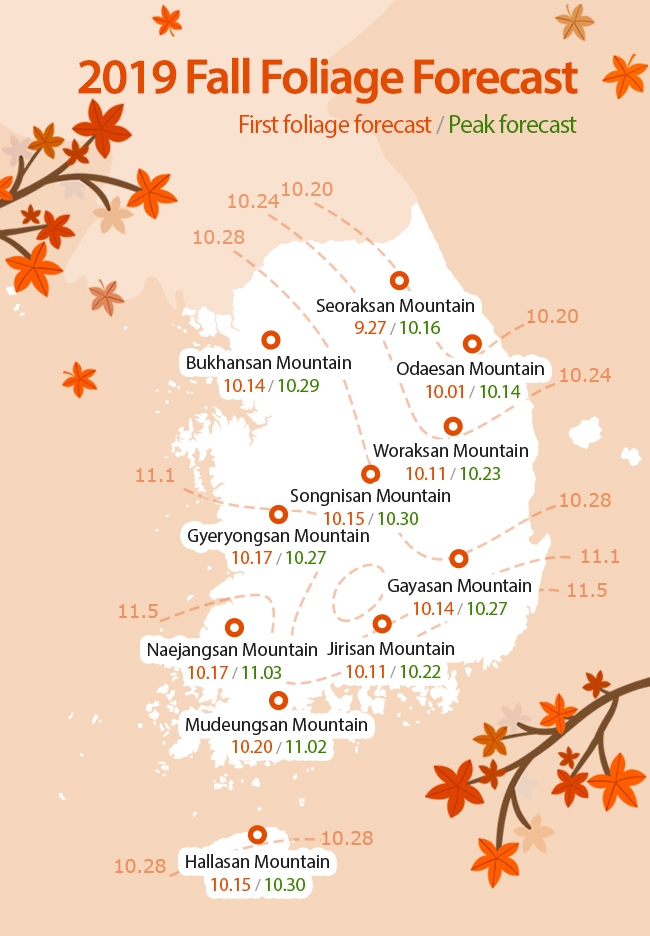 Fall Foliage Prediction Map 2020.2019 Fall Foliage Forecast Official Korea Tourism Organization