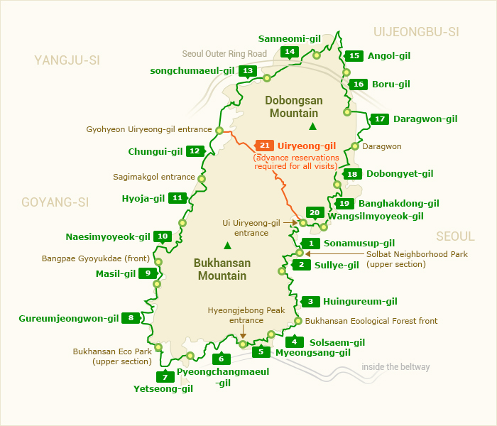 Map (Bukhansan Dulle-gil Trail)